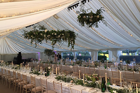 Wedding catering for a wedding breakfast inside a marquee